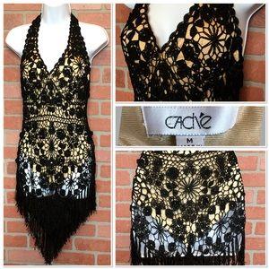 Cache black lace dress cover up medium (4H37)